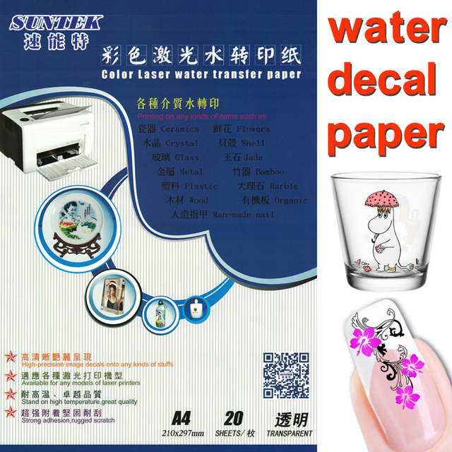 A4 laser clear white water slide decal transfer paper film 20 sheets lot