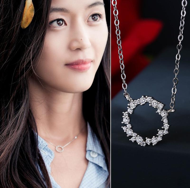 RYOUCUTE Silver Color Jewelry Korean Rhinestone Circle Necklaces For Women Wedding Kolye Collares Bijoux