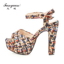 2bf369a73d994 Fanyuan High Fashion Summer women Plaid Ankle Strappy Heels Sandals Peep  Toe Platform Shoes Ladies Party