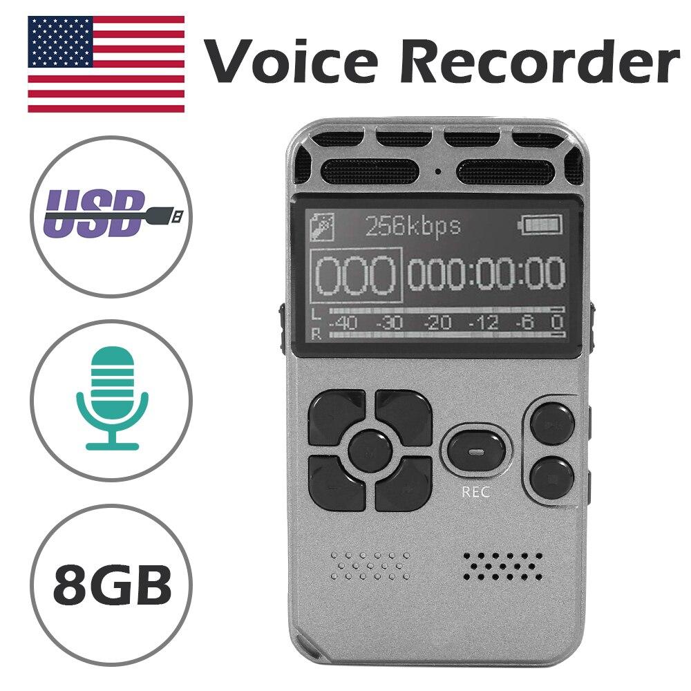 8 GB enregistreur vocal numérique USB heures enregistrement Audio Dictaphone MP3/WAV LED affichage vocal activé pour les réunions réduction du bruit