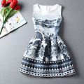 Summer Dress 2016 Women Dress Vintage Floral Print Dresses Sleeveless Casual Party Dresses Vestidos Plus size