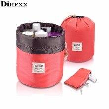 DIHFXX Drop ship drawstring barrel shaped women cosmetic Bag High quality makeup organizer storage bags Travel toiletry kit