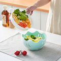 Многофункциональная полипропиленовая Толстая прочная Салатница с крышкой для салата креативная волнистая чаша для резки овощей и фруктов ...