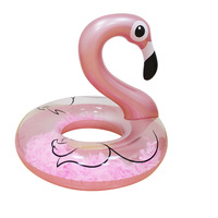 100CM Rose Gold Inflatable Flamingo Swimming Ring With Feathers Women Swim Tube Beach Summer Water Party Inflatable Pool Toys