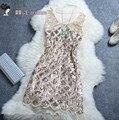 Frete grátis 2017 nova moda verão moda beading paillette one piece-tanque curto mini dress lantejoulas mulheres dress alta qualidade