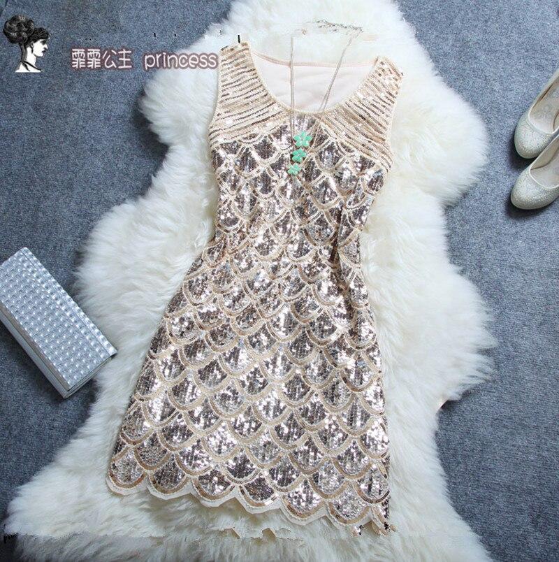 Livraison gratuite 2018 nouvelle mode été mode perles Paillette une pièce courte Mini robe paillettes femmes robe de réservoir de haute qualité