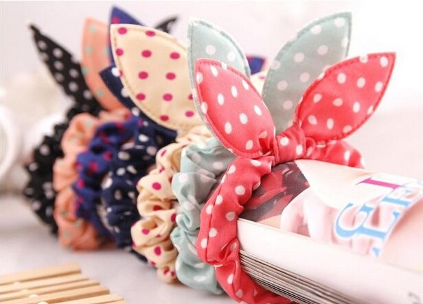 HTB1vTJjKXXXXXXXaXXXq6xXFXXX6 Cute Polka Dot Rabbit Ears Hair Tie For Women - Various Styles