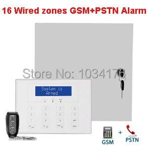 GSM + PSTN telefon linie verdrahtet & wireless alarm panel, dual ...