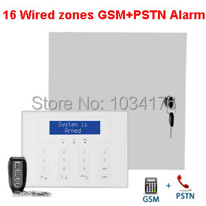 GSM+PSTN Telephone Line Wired&wireless Alarm Panel, Dual Network Wired Alarm System