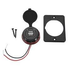 Автомобильное зарядное устройство с двумя портами USB 3.1A 12/24V адаптер питания водонепроницаемый автомобильное зарядное устройство USB разъем для Авто Мото шины Универсальный