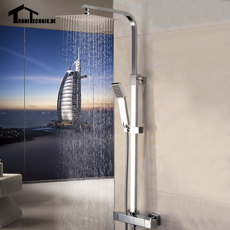 Thermostatic Water Shower Faucet Set Chrome Bath Tub Shower Mixers with Handshower Rain Showerhead SS1 9usd discount for UK  ouboni brand new arrival high quality chrome water shower faucet set bath tub shower mixers with handshower 8 rain showerhead