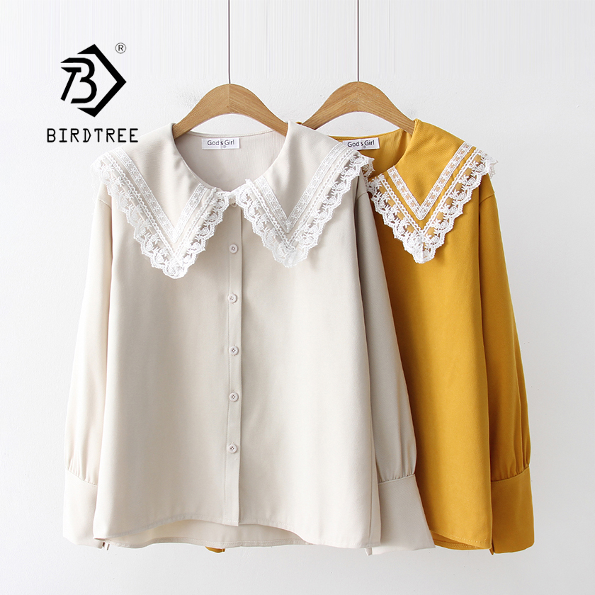 2019 New Arrival Solid Sailor Collar Blouse Mesh Lace Patchwork Lolita Shirt Long Sleeve Button Up Sweet Mori Girls Top T93809F