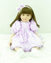 22 inch 55 cm Silicone baby reborn dolls, lifelike doll reborn babies toys Pretty purple princess dress girl