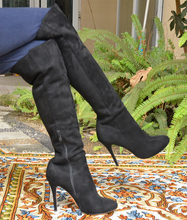 BC Free Shipping Women's Black Suede Knee High Thin Pointed Toe Winter Women Boots  with Side Zipper 11cm