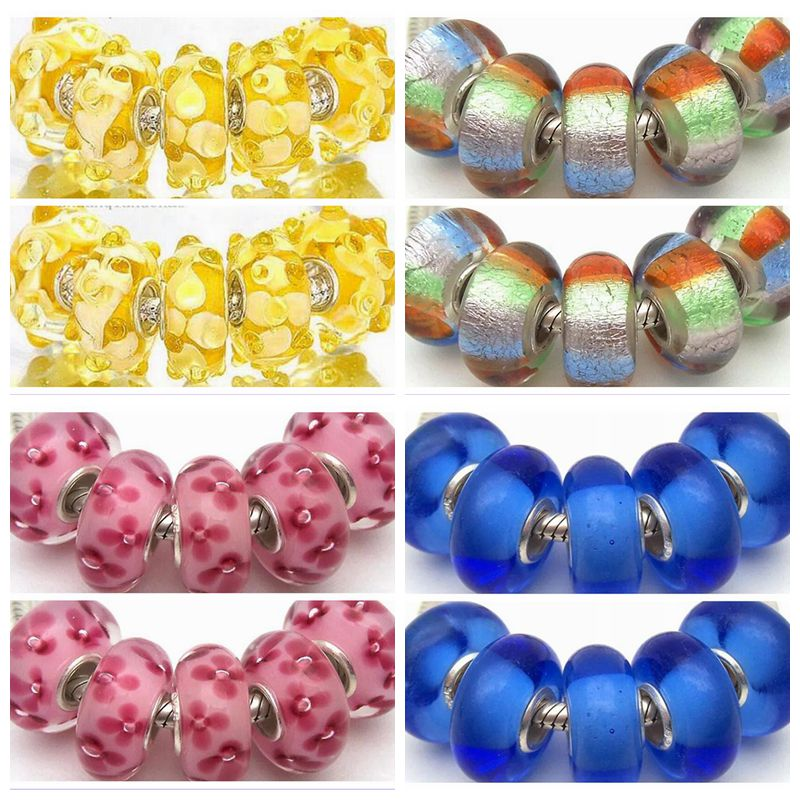 50pcs Lot Fashion Murano Lampwork Silver Core Beads Fit European Charms Bracelet Necklace DIY Jewelry making