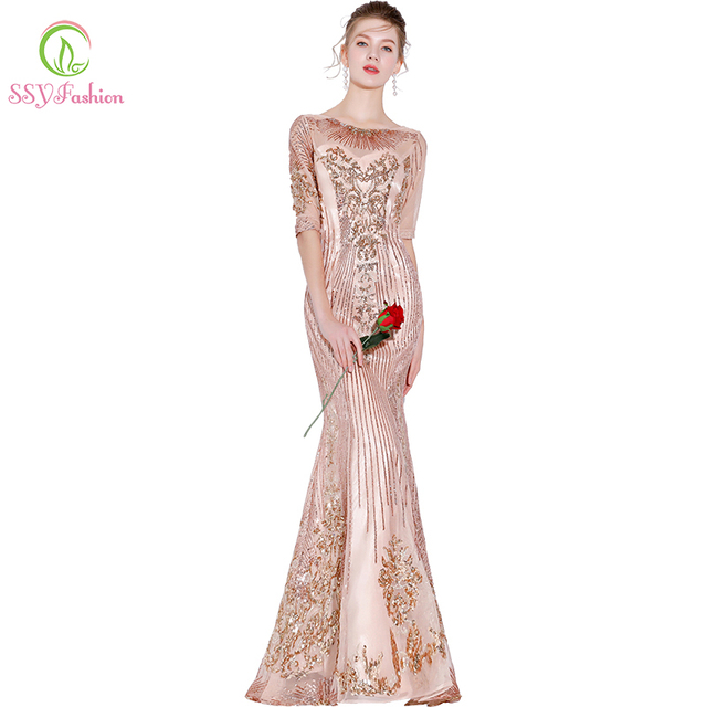 Ssyfashion New Mermaid Prom Dress Half Sleeved Floor Length Liques Champagne Pink Evening Party Formal