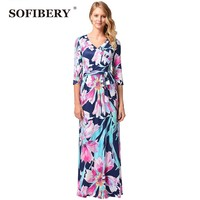 SOFIBERY Impresión vestido Largo Las Mujeres vestido Elegante de la buena calidad Con Cuello En V Vestidos Ocasionales de Las Mujeres del verano