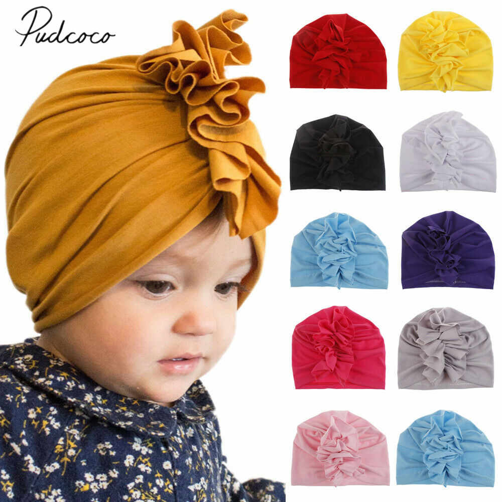 2019 Children Summer Accessories Fashion Newborn Toddler Kid Baby Boy Girl Turban Cotton Beanie Solid Ruffle Candy Color Hat Cap