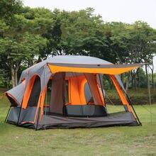 Роскошные Сверхбольших Один Зал С Двумя Спальнями Палатка 6 8 10 12 Человек Открытый Всесезонная Палатка Водонепроницаемый Семья Кемпинг Палатки-Участника