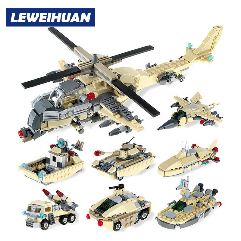 Armed Helicopter Apache Toy Model Building Blocks 8 in 1 DIY Bricks Compatible Legoed Educational Toys For Kids Christmas Gifts