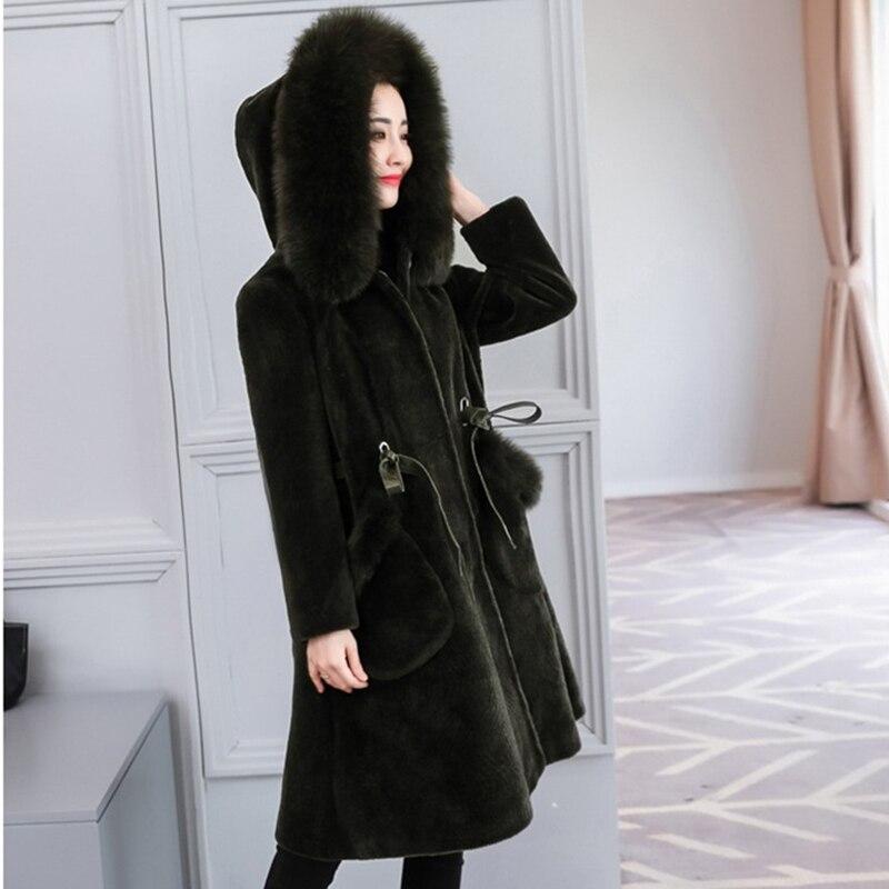 Fourrure À Femme Moutons bean La Vestes Colour Manteau 2019 De caramel Dark  Paste Long Tonte Des Parker Taille Femmes ... 79181d64ab9