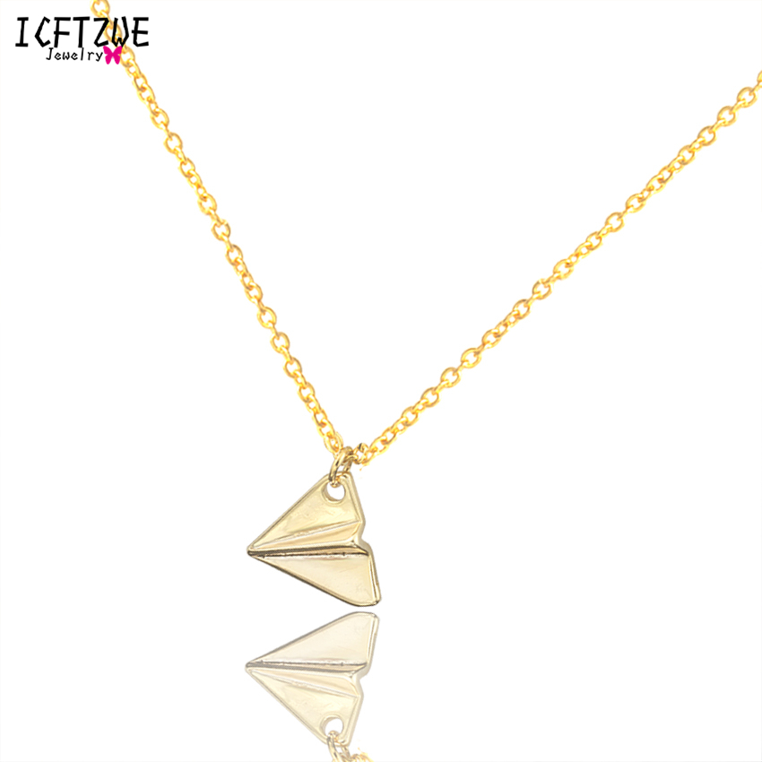 Gold Chain Geometric Tattoo Choker Paper Plane Origami Airplane Necklace Pendant Women Jewelry Ketting Vrouwen Choker Collares