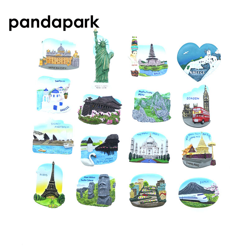 Pandapark 3D Resin <font><b>Paris</b></font> London Fridge Magnet Souvenir Hand-colored City Landmark Sticker Kitchen Decoration Message Post Travel image