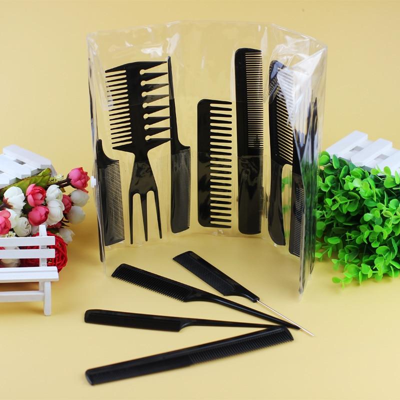 10 copë / Shumë burra Gratë Salloni i Salloneve për Flokët Styling Flokët e Zezë Plastike Kombinon Mjetet e Modelimit të Furçave Anti-statike