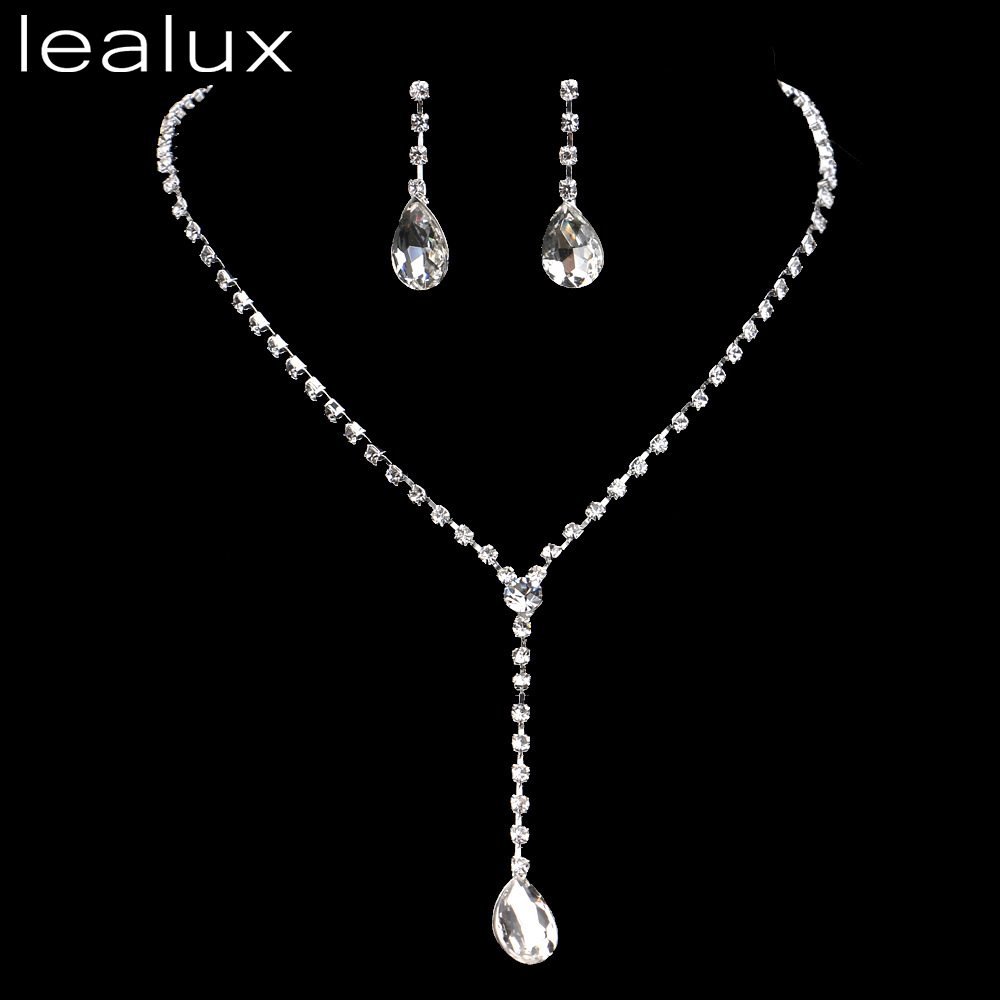 Lealux Crystal Collier Mariage Choker Necklace Earrings Costume Jewelry  Charm Silver Bridal Bijoux African Jewelry Set