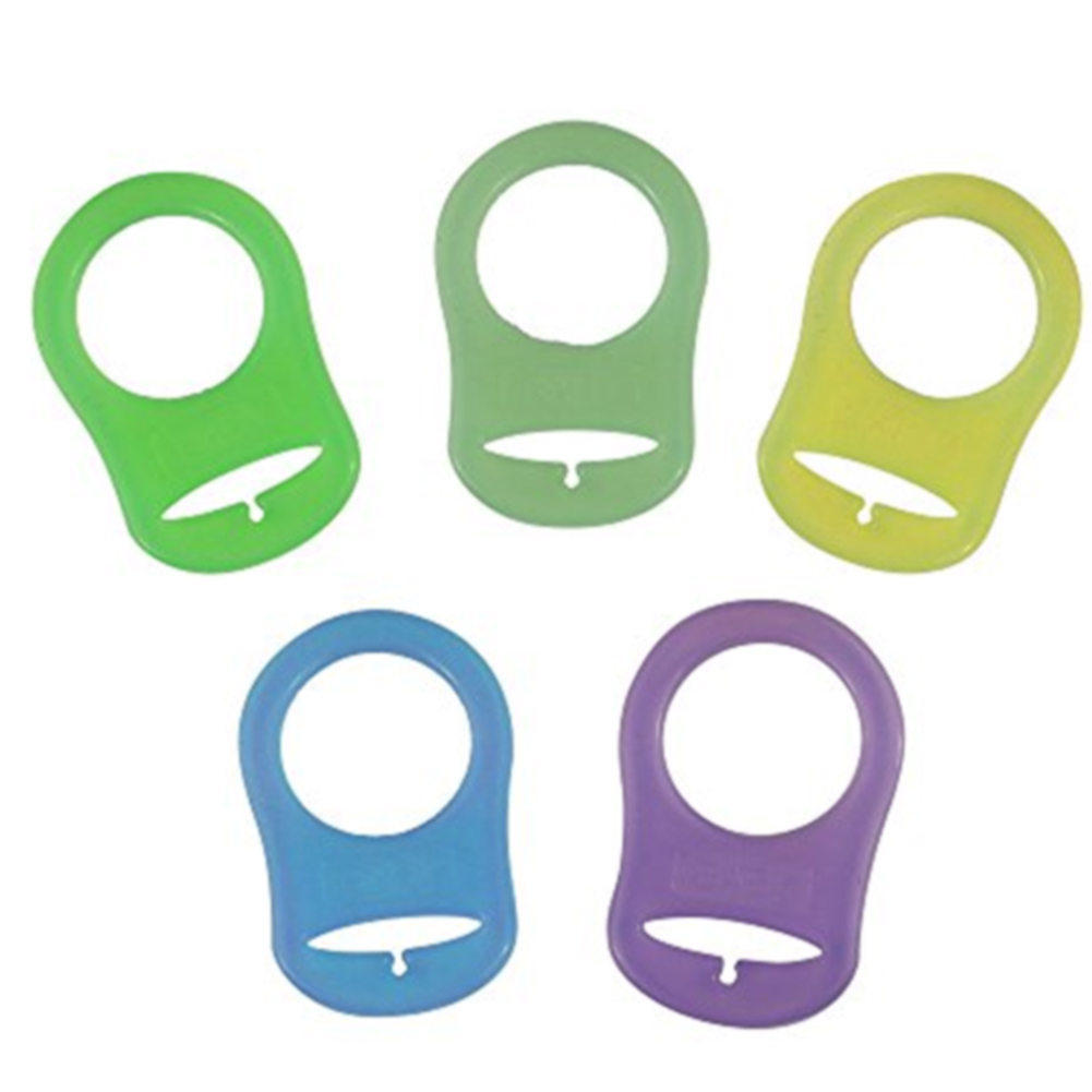 Soft Mix Color Pacifier Clips Pacifier Adapter Ring Non-toxic Silicone Holder