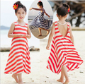 New 2014 Summer Fashion Girls Chevron Dresses Bohemian Baby Girls Kids Cotton Beach Dress Children Clothing