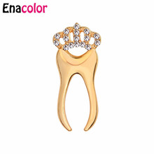 ФОТО enacolor 2018 new luxury crown tooth brooch pin rose gold metal crystal collar pin women corsage broches cordao joias