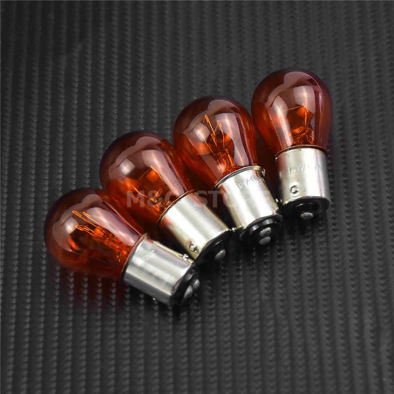 4 Uds ahumado para motocicleta naranja Cristal de señal intermitente cubierta bombillas para Harley Touring Electra Glide camino King Tour FLHT puño FLTR