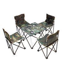 Camouflage medium five sets 4 chairs + 1 table Portable Lightweight Folding Hiking Camping Stool Chair for Fishing Picnic BBQ