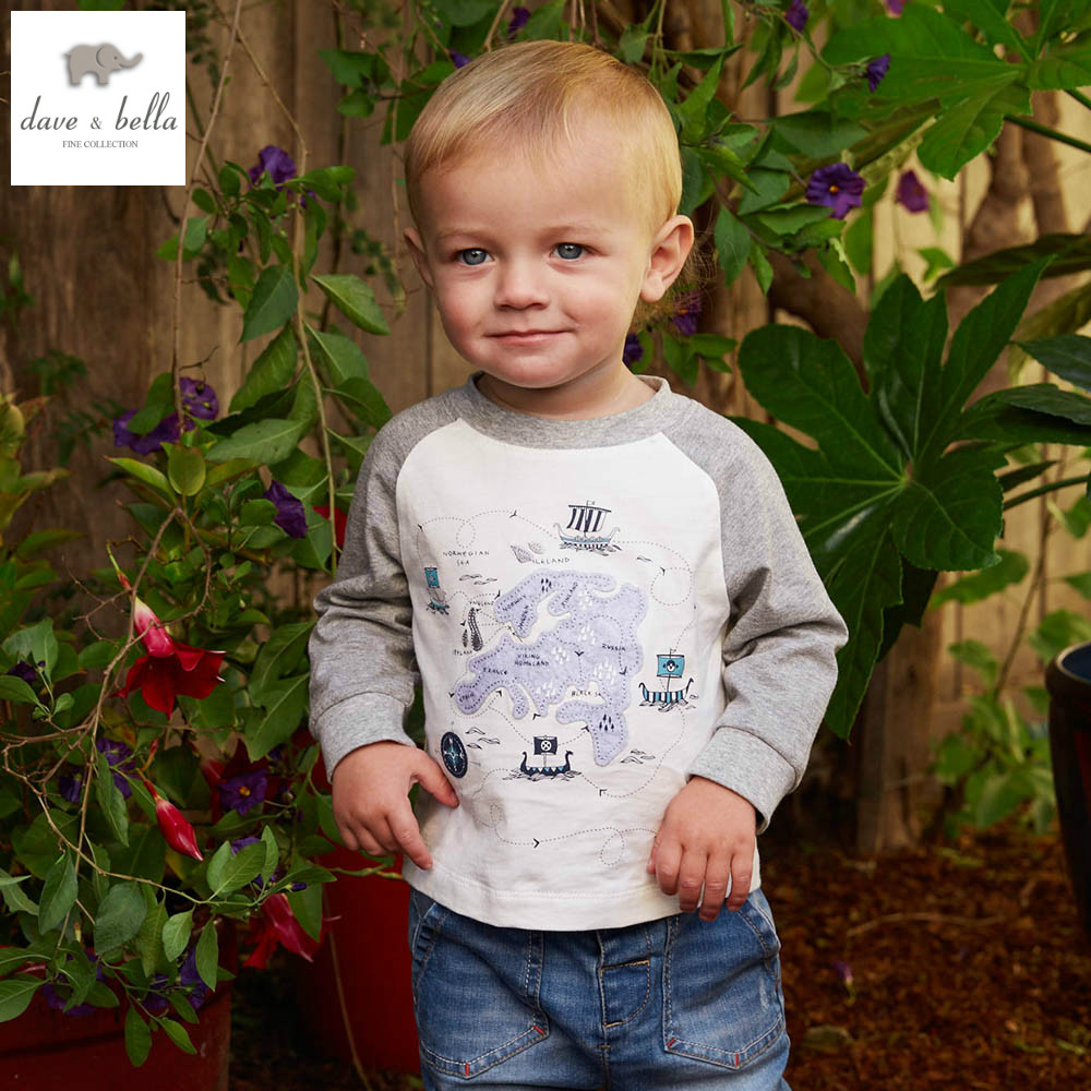 DB5001 dave bella spring autumn baby boy navy t-shirt boy cotton round neck t shirt infant clothes toddle tees