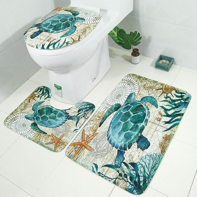 Bathroom Turtle Octopus Printing Toilet Floor Mat Three-piece Set Bath Mat Anti-slip Bathroom Floor Mats Cartoon Rug Non Slip
