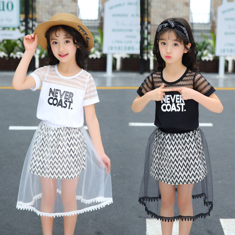 Women Set 2018 Spring Kids Clothes Teenagers Youngsters Garments Striped Quick Sleeve T Shirt + Lengthy Tulle Skirts 2 Pcs Units Age 4-12 Clothes Units, Low cost Clothes Units,...
