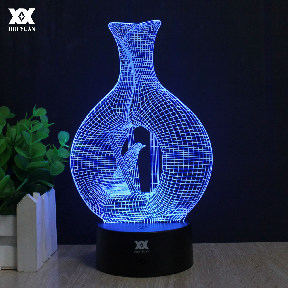 Bird vase 3D Lamp LED Remote Control Night Light USB 7 Colors Changing Decorative Table Lamp Interesting Gift HUI YUAN Brand