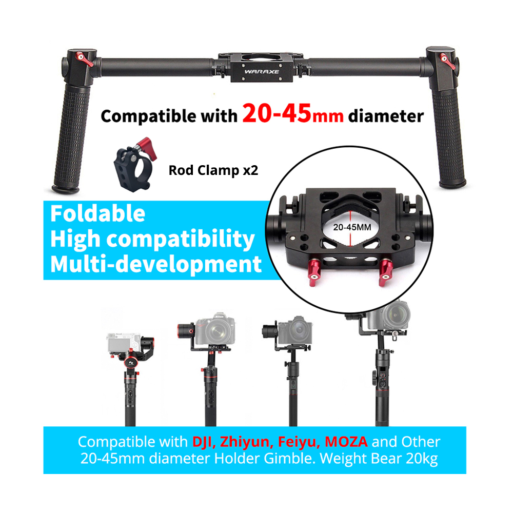 Universal Handheld Dual Handle kit Grip Bracket for Zhiyun Crane 2 Plus MOZA Air DJI 3 axis Gimbal stabilizer Feiyu a1000/a2000