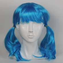 Салли лицо двойной хвост высокотемпературный проволочный парик длинные волосы Косплей окружающие аксессуары для косплея на Хэллоуин синий головной убор