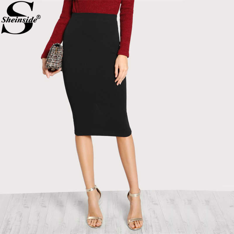 106a545d29d9 Sheinside Fashion Slit Back Column Plain Bodycon Skirt Black Knee Length  Mid Waist Elegant Pencil Skirt