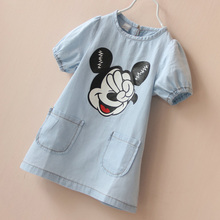 2016 Summer Mickey Girls Cotton Dresses Jeans T shirt Dresses Baby Girl Mickey Dress Costume Cute