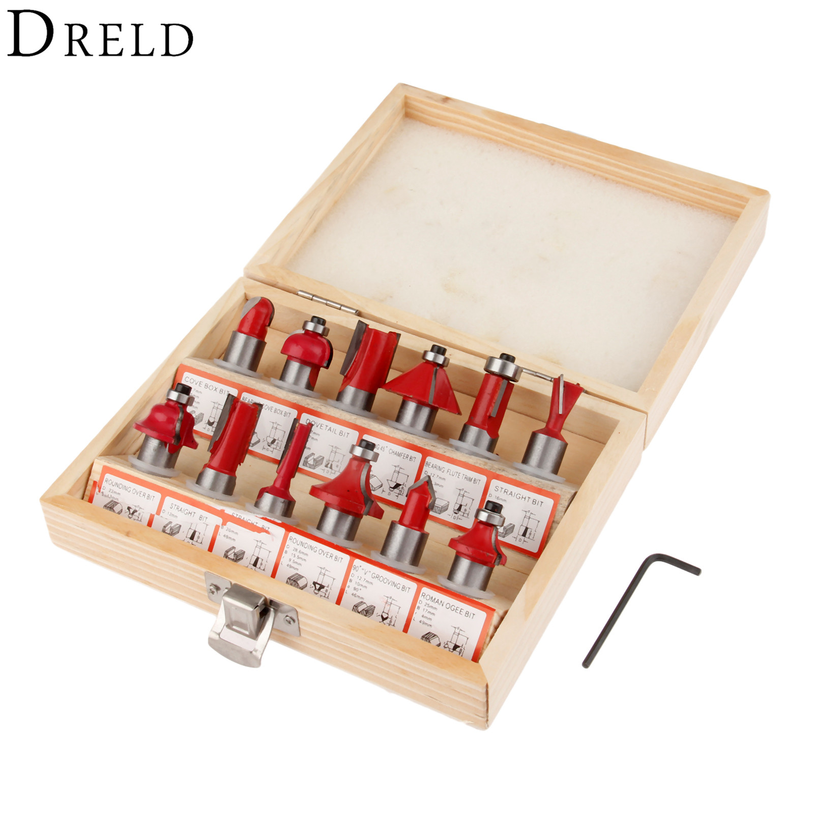 DRELD 12Pcs  1/2 Inch (12.7mm) Shank Flush Trim Wood Router Bit Wood Milling Cutter DIY Woodworking Tools with Wooden Case high grade carbide alloy 1 2 shank 2 1 4 dia bottom cleaning router bit woodworking milling cutter for mdf wood 55mm mayitr