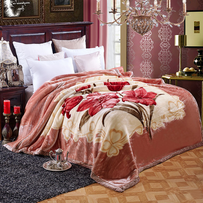 Thick Classic Large Floral Red Flower Warm Double Layers Plush Faux Mink Flannel Raschel Fur Blanket Throw Twin/Full/Queen Size thick warm double layer flannel plus sherpa man made lamb fur blanket 145x195cm