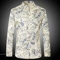 Camisas dos homens Nova Chegada de Manga Comprida Vestido Camisas de marca Camisas de algodão Slim Fit camisa Flor Impresso Casual Z1027-Euro tamanho
