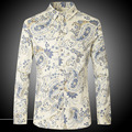 Men Shirts New Arrival Long Sleeve Dress Shirts Slim Fit Printed Flower shirt Casual cotton brand Shirts Z1027-Euro size