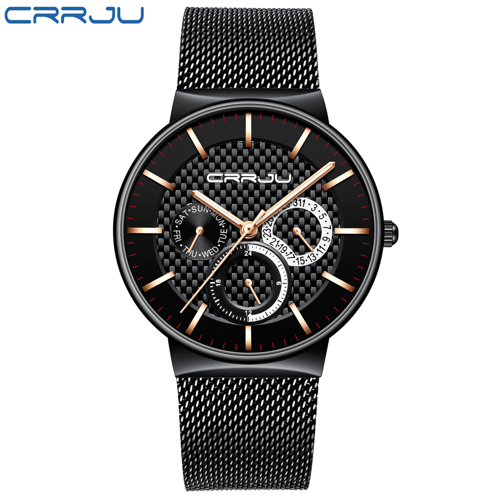 Men Watches CRRJU Luxury Famous Top Brand Men's Fashion Casual Dress Watch Military Quartz Wristwatches Relogio Masculino Saat