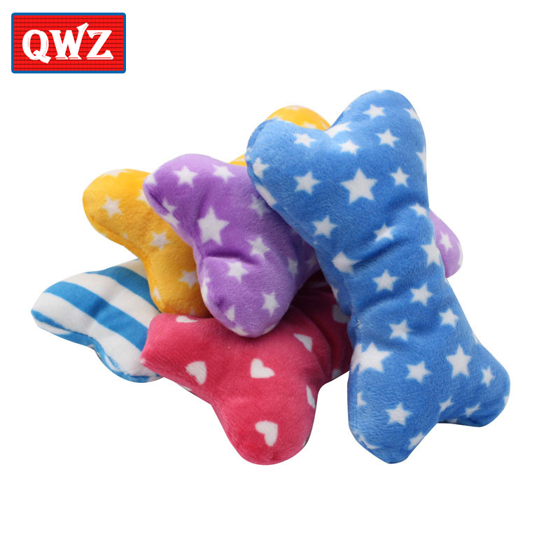 QWZ 10pcs/set Colorful Sound Plush Toys Bone Shape Little Star Leopard Dolls Pet Dog Cat Toys Kawaii Gift For Baby Children