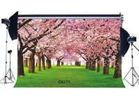 7x5ftPhotography Backdrop Cherry Blossom Floral Green Grass Scene Seamless Weedding Party Event Lover Portraits Background