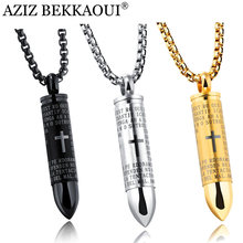 AZIZ BEKKAOUI Stainless Steel Male Bullet Pendant Necklaces For Men Cross Cool Punk Style Bullet Pendants Christian Jewelry Gift(China)